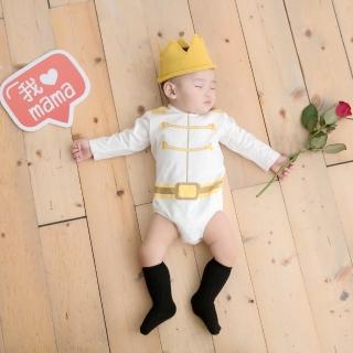 【日安朵朵】男嬰連身衣 - MIT台灣製白馬王子 長袖 不含皇冠(寶寶嬰兒包屁衣)