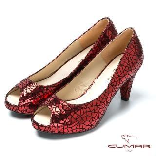 【CUMAR】金屬色羊皮高跟魚口鞋(黑)