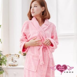 【Angel 天使霓裳】甜蜜氛圍 柔軟珊瑚絨綁帶睡袍(深粉)