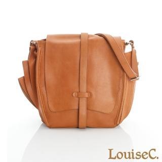 【LouiseC.】旅人雙翼磨沙牛皮包-橘黃色(02C29-0011A11)