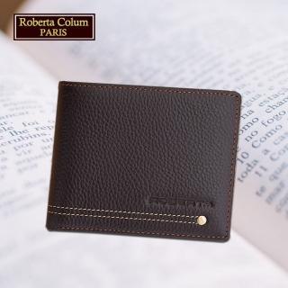 【Roberta Colum】諾貝達 男用皮夾 短夾 專櫃皮夾 鉚釘短夾(23151-2咖啡)