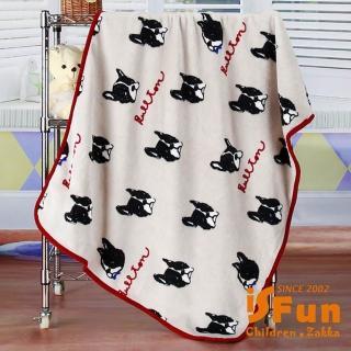 【iSFun】黑色狗頭*保暖珊瑚絨毛毯/灰100x75cm