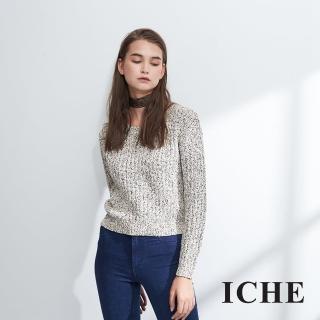 【ICHE 衣哲】簡約時尚百搭短版混色造型粗針織上衣-兩色-駝