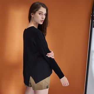 【ICHE 衣哲】不規則微寬喀什米爾羊毛針織毛衣上衣-兩色-黑