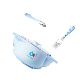 【babyhood】不鏽鋼保溫兒童餐具3件組(天藍色)