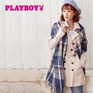 【PLAYBOY】優雅格子大幅圍巾(圍巾)