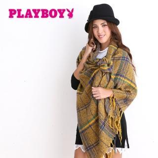 【PLAYBOY】經典雙色格紋大幅圍巾(圍巾)