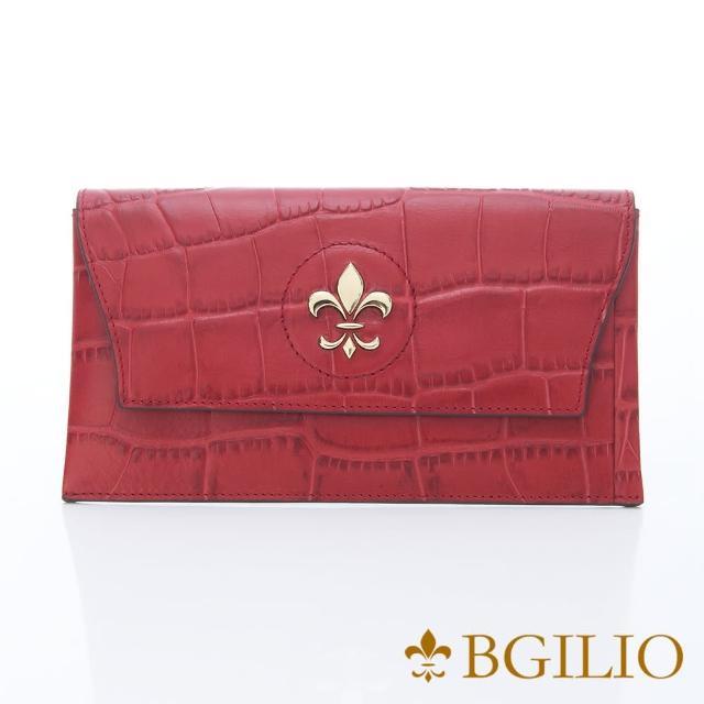 【義大利BGilio】鱷魚紋牛皮西式信封長夾-活動式內夾層-紅色(1477.328-01)