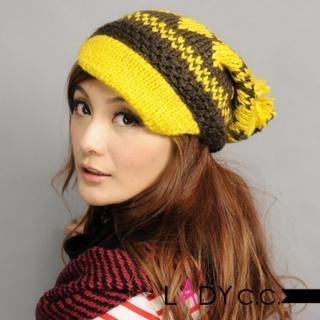 【Lady c.c.】青春冬戀小酒窩造型毛帽(黃)