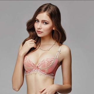 【La Felino 羅絲美】紐約玫瑰3/4絲棉剪接款B-E罩杯內衣(泡糖粉)