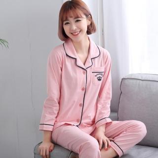 【蘿林嚴選】新款情侶長袖睡衣純棉套裝(情侶款女款)
