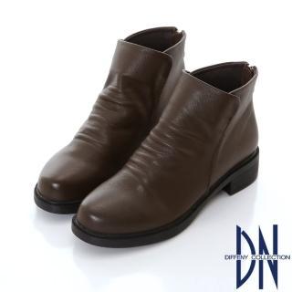 【DN】簡約時尚 質感真皮抓皺造型短靴(深咖)