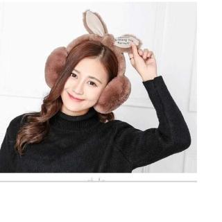 韓風 絨毛兔耳朵耳罩-棕色(雜誌款 保暖耳罩 聖誕裝扮禮物)