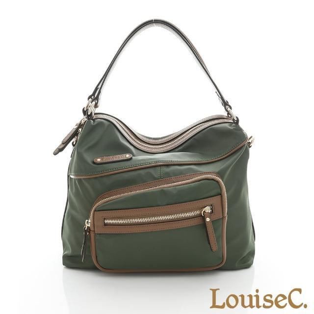 【LouiseC.】立體口袋肩背包-尼龍+牛皮-綠色(02Z36-0060A08)