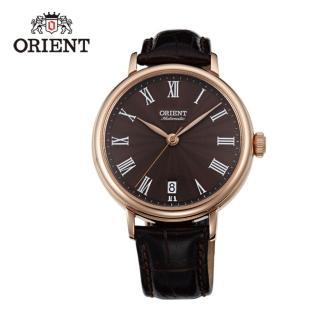 【ORIENT 東方錶】ELEGANT系列 羅馬假期復古機械錶 皮帶款  咖啡色 - 37.5mm(FER2K001T)