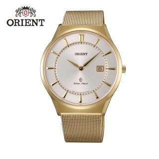 【ORIENT 東方錶】SLIM系列 超薄時尚簡約藍寶石鏡面石英錶 米蘭帶  金色 - 39mm(FGW03003W)