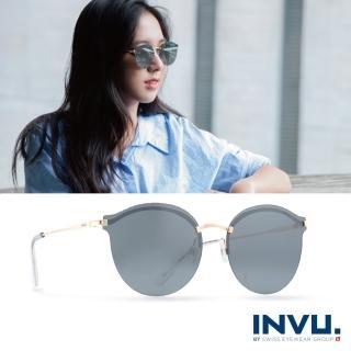【INVU瑞士】來自瑞士濾藍光偏光金屬水銀太陽眼鏡(黑/金 T1801B)