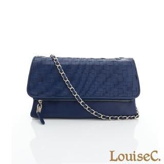 【LouiseC.】羊皮手工編織手拿鍊帶包-藍色(06L05-0017A09)
