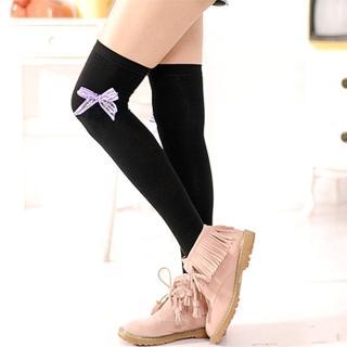 【Lady c.c.】緞帶蝴蝶結墬亮造型膝上襪(四色)
