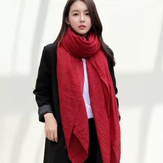 【幸福揚邑】韓版棉麻圍巾四季百搭絲巾超大披肩(棗紅)