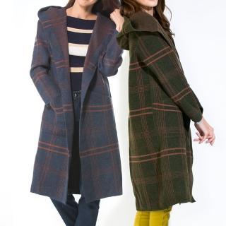 【雪莉亞】RH雪莉亞韓系毛呢長板大衣(毛呢長板大衣規則對比線條)