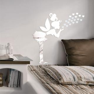 【Pond's】鏡面壁貼~吹星小女孩/3D壓克力鏡面貼(103*60公分-愛心款)