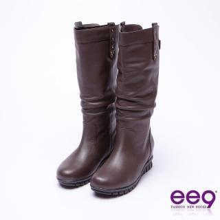 【ee9】ee9-經典素面抓皺百搭內增高長筒靴-黑色(內增高長筒靴)