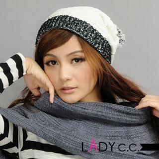 【Lady c.c.】滾邊跳色百搭基本款毛帽(白)