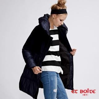 【BLUE WAY】高質感羊毛拼接可拆領長版羽絨大衣 - ET BOiTE 箱子