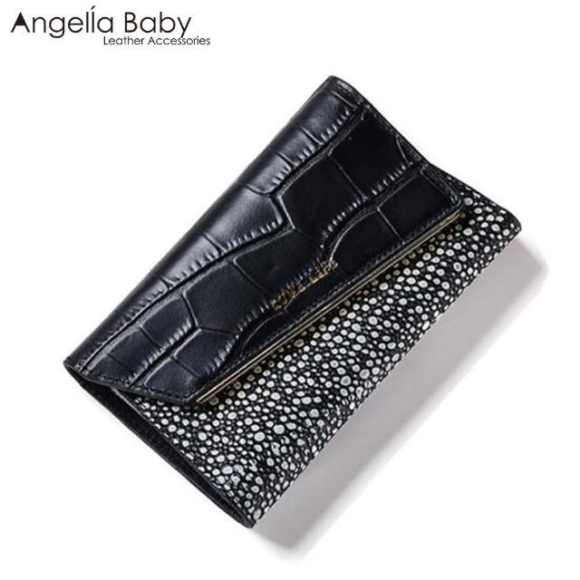【Angella Baby】真皮梅杜莎鱷魚壓紋三折式中夾(共2色)