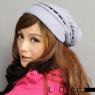 【Lady c.c.】球球造型基本多色毛帽(灰)
