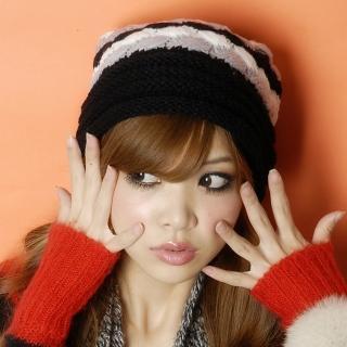 【Lady c.c.】雙色百搭毛球造型針織毛帽(黑)