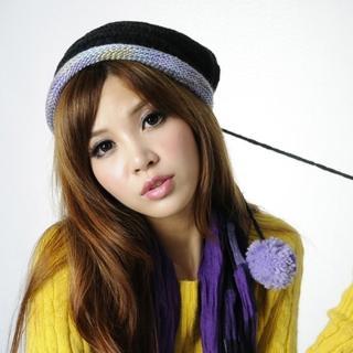 【Lady c.c.】水果慕絲豐彩雙層針織毛帽(黑)