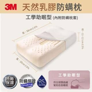 【3M】天然乳膠防蹣枕-工學助眠型(附防蹣枕套)
