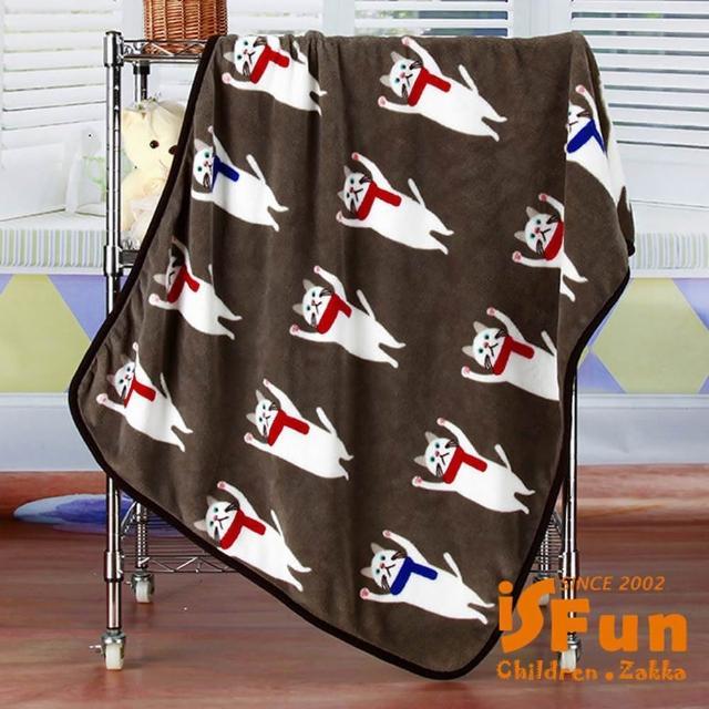 【iSFun】圍巾貓咪*保暖珊瑚絨毛毯/咖100x75cm/