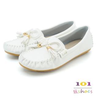 【101玩Shoes】mit.蝴蝶流蘇美結樂福豆豆鞋(白色.36-40)
