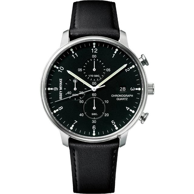 【ISSEY MIYAKE 三宅一生】C系列計時手錶-黑皮帶/42mm(VD57-0620C  NYAD003Y)