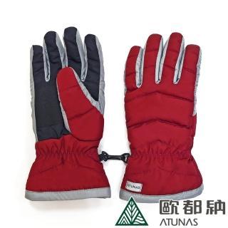【ATUNAS 歐都納】女款防潑水防風保暖手套(A1-A1749W紅/機車/登山/滑雪)
