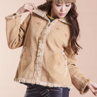【RH】超保暖刷毛麡皮短版外套(米色.玫紅色.咖啡色)