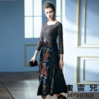 【mysheros 蜜雪兒】金蔥蕾絲拚接絲絨花朵宴會洋裝(金)