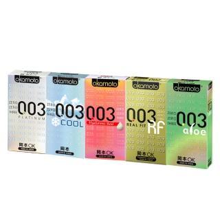 【okamoto 岡本】003極薄系列超值組-6片X5盒(白金+極薄貼身+極薄蘆薈+極薄水潤+冰炫極薄)