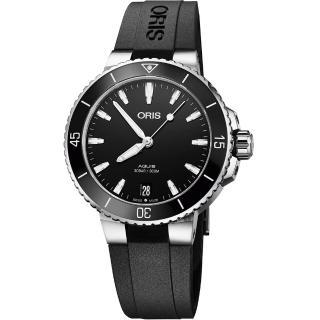 【ORIS 豪利時】Aquis 時間之海潛水300米機械女錶-黑/36.5mm(0173377314154-0741864FC)