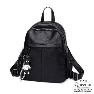 【DF Queenin】質感可愛吊飾柔軟皮革後背包
