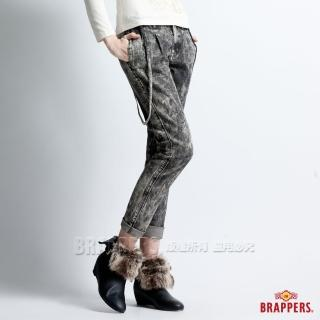 【BRAPPERS】女款 BoyFirend系列-燈籠3D八分吊帶反摺褲(黑雪花)