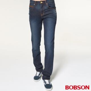 【BOBSON】男款低腰雙袋配皮料直筒褲(1833-52)