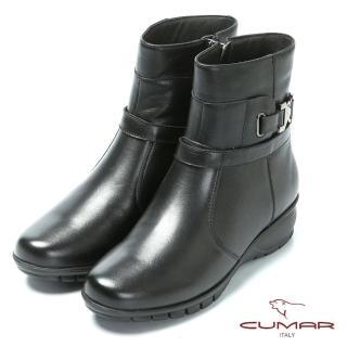 【CUMAR】嚴選真皮-舒適鞋底真皮短靴(黑色)