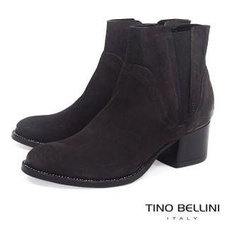 【TINO BELLINI 貝里尼】義大利進口仿舊擦色中跟切爾西靴B69027(深咖)