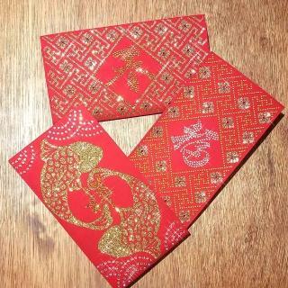 【GFSD 璀璨水鑽精品】豪華限定紅包袋(富貴金燦燦系列 三入一組)
