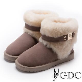 【GDC】甜美氣質方釦毛毛雪靴-豆沙色(728830)