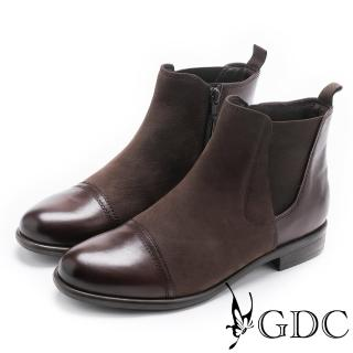 【GDC】美式異材拼接帥氣牛皮低跟短靴-咖啡色(728915)